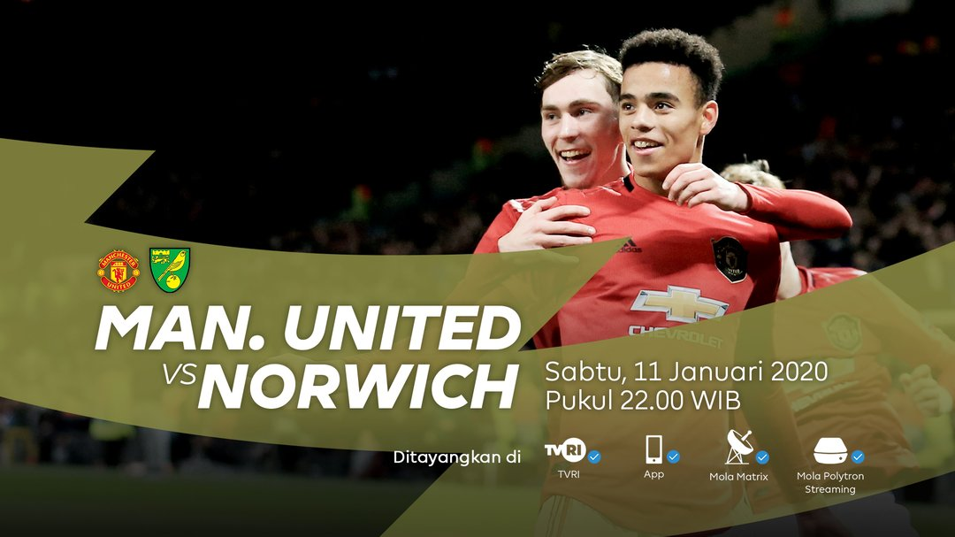 Live streaming TVRI Manchester United vs Norwich City Liga Inggris 2020